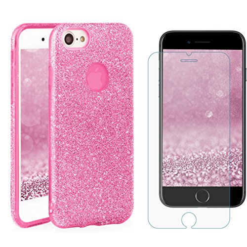 EGO ® Glitzer Schutzhülle + Panzerglas für iPhone 7 Plus, Pink Back Case Bumper Glänzend Transparente Handy Cover Strass Silikon TPU Luxury Lipgloss Pink + Glas