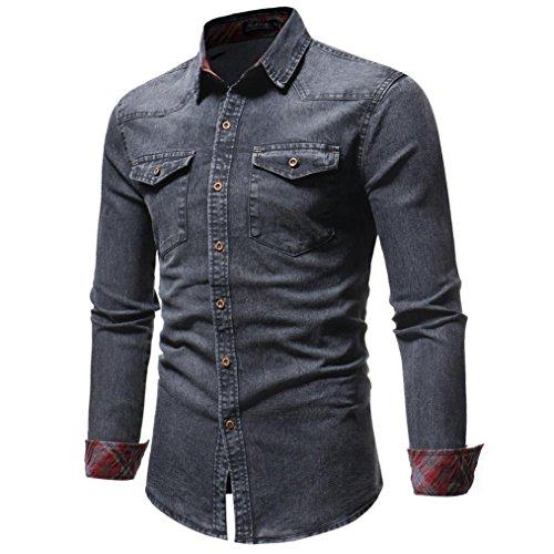 (Kanpola Herren Hemd Männer Regular Fit Langarmshirt Freizeithemd Für Business Hochzeit Freizeit Mantel Outwear Button-Down Jeanshemd Denim Hemden)