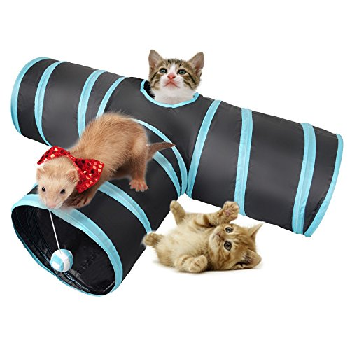 Lauva Katzentunnel 3 Wege, zusammenklappbar Haustier Katze Spielzeug Aktivität spielen Kratzen Spielzeug mit Ball für Katzen, Kätzchen, Kaninchen, Welpen Hunde