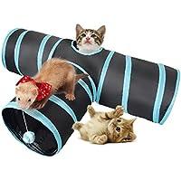 Lauva Katze Tunnel Spielzeug, Klappbar 3 Way Fun Run Unterhalten Bewegung und Spiel für Katzen mit Katzenminze Best Play House Für Kaninchen, Kätzchen,Und Hunde