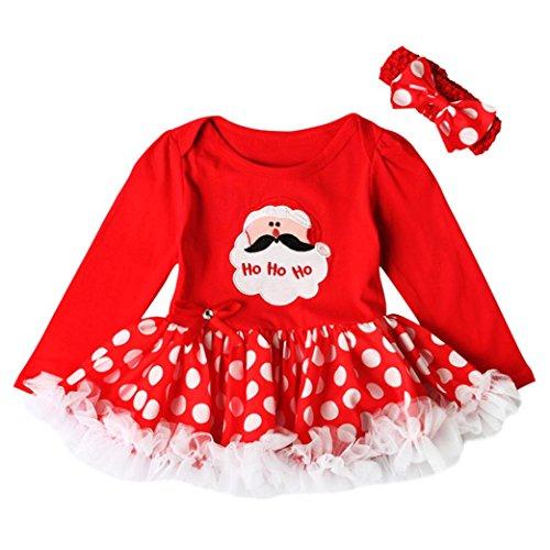 Hirolan Kleinkind Neugeboren Baby Mädchen Lange Hülse Tops Prinzessin Santa Claus Tutu Kleid Weihnachten Outfits Set Baumwolle Mode Eine Linie Knie-Länge Kleider Anzüge Mit Stirnbänder (80cm, Rot)