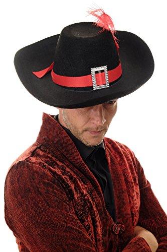 DRESS ME UP – Hut Fasching Karneval Musketier Freibeuter Pirat Edelmann Gestiefelter Kater Feder H14