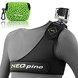 First2savvv GO-SCM9-01BW06 Brustgurt Halterung Chest Mount Chesty für GoPro Hero 1/2/3/3+/4 4 mit grüne Kameratasche