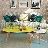 YK Couchtisch-Nordische Farbe Teetisch, Personalisierter Kreativer Ovaler Tisch, Einfacher Moderner Kleiner Couchtisch/Zeitschrift Zhuo/Computertisch,Gelb und weiß,120 + 50 cm
