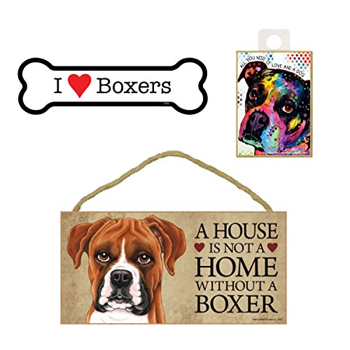 Boxer Hund Lover Geschenk Bundle Decor-Deko Wand Schild A House is Not A Home Without A Boxer, Auto-Magnet I Love Boxer, und Kühlschrank Magnet All You Need is Love and a Dog -