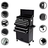 Dirty Pro Tools™ LARGE TOOL CHEST WITH DRAWER DIVIDER TOP CABINET TOP BOX AND ROLLCAB BOX - Black
