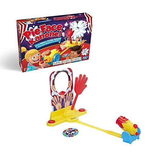 Hasbro Pie Face Kanone, lustiges Partyspiel, sahnestarkes Familienspiel, Gemeinschaftsspiel für den Kindergeburtstag, wer bekommt die Sahne ins Gesicht? 2 oder mehr Spieler, ab 5 Jahren