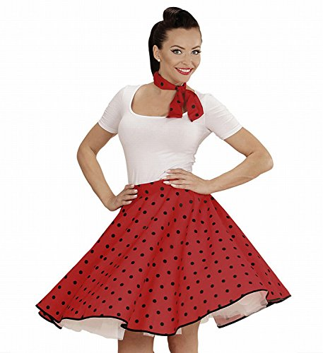 Widmann 01077 - Erwachsenenkostüm 50s Rock'n'Roll Girl, Polka Dot Rock und Halstuch, rot, (Girl Star Rock Halloween Kostüm)