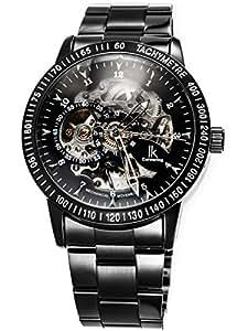 Alienwork IK mechanische Automatik Armbanduhr Skelett Automatikuhr Uhr Herren Uhren sport Zeitloses Design Edelstahl schwarz 98226G-A