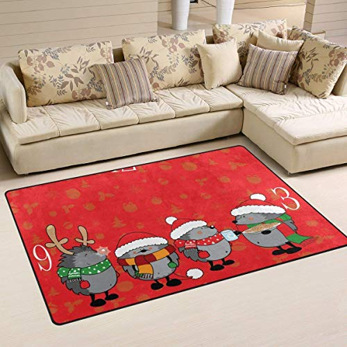 Wdskbg Cute Looking Christmas Hedgehogs Pattern Area Rug Rugs Non-Slip Indoor Outdoor Floor Mat Doormats Home Decor Size:16 X 24(40x60cm) ES