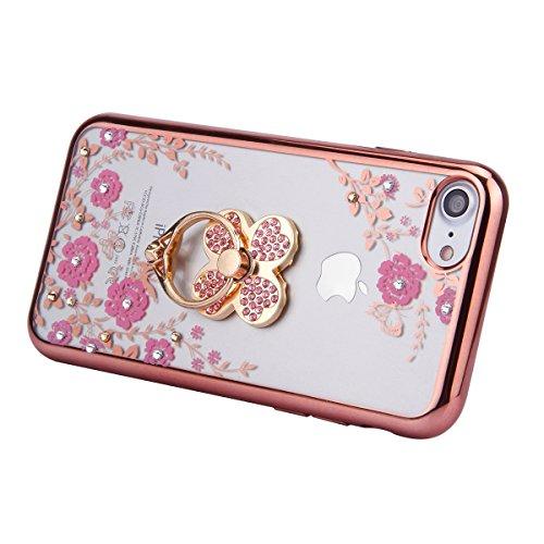 EUWLY Custodia per iPhone 6 Plus/iPhone 6s Plus (5.5), Cover Silicone Trasparente per iPhone 6 Plus/iPhone 6s Plus (5.5), EUWLY Clear Cristallo Chiaro Diamante Bling Glitter Fiori di Ciliegio Modell Fiori Rosa+Anello Foglia,Oro Rosa