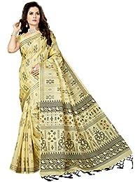 Rani Saahiba Art Bhagalpuri Silk Printed Saree ( SKR3530_Beige - Black )