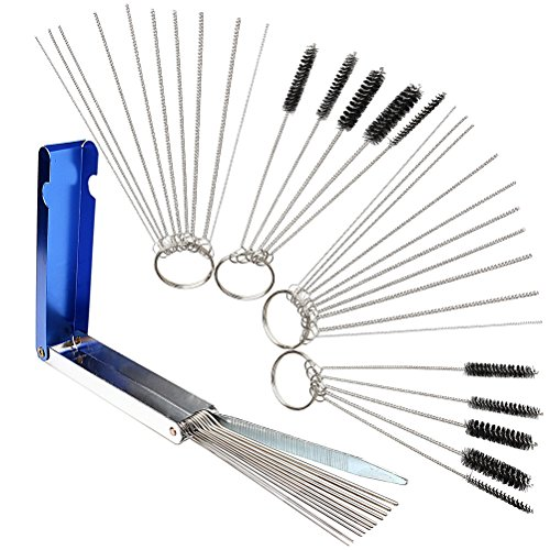 nuosen Carburetors Carbon Dirt Jet Remove Cleaner Tool, 13 Cleaning Wires  Set + 20 Cleaning Needles + 10 Nylon Brushes Tool Kit for Motorcycle ATV