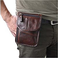 Le'aokuu Mens Genuine Leather Fanny Small Messenger Shoulder Satchel Waist Bag Pack Pouch (The 8301 Coffee)