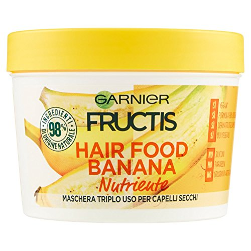 Scheda dettagliata Garnier Fructis Hair Food Banana Maschera Nutriente 3 in 1 con Formula Vegana per Capelli Secchi, 390 ml