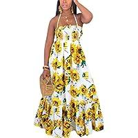 فستان شاطئ صيفي طويل بدون أكمام للسيدات من GAGA ابيض Large