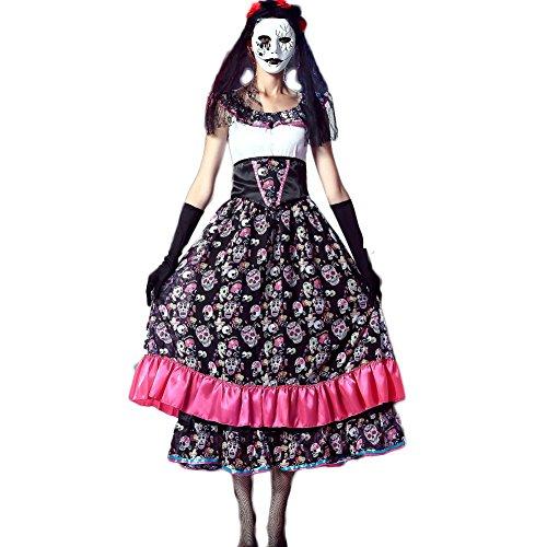 Cosfun Halloween Kostüme Skelett Ghost Braut Brautkleid Zombie Kostüme Nachtfeld DS (Braut Schädel Kostüm)