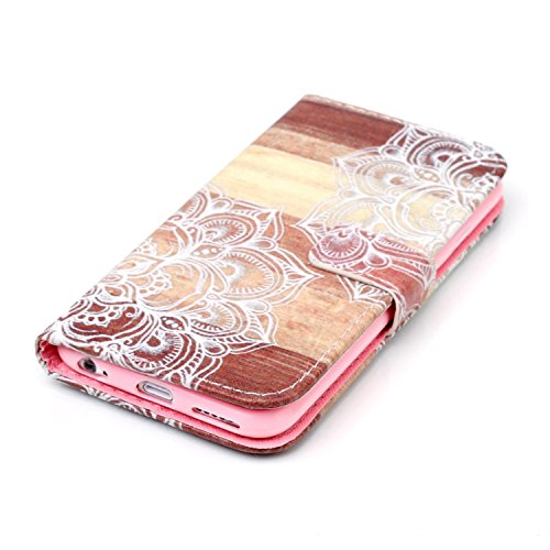 iPhone 6S Plus Wallet Hülle,iPhone 6S Plus Leder Hülle,iPhone 6S Plus Flip Hülle Leder Handy Tasche Wallet Case Flip Cover Etui,EMAXELERS iPhone 6 Plus Hülle Blumen,Elegant Rot Grilles Muster Schutzhü Angry Face Flower Series 12