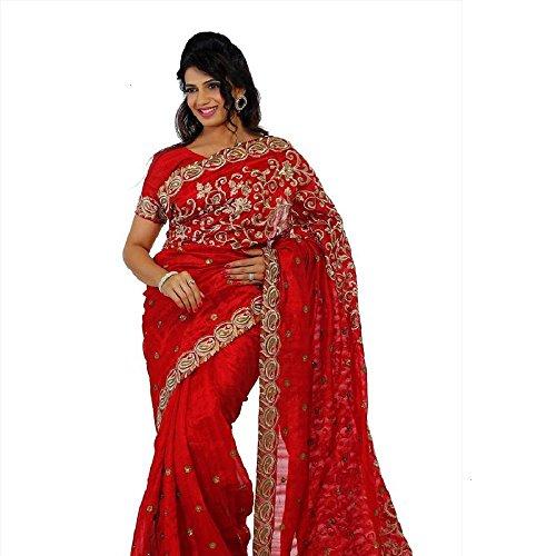 Designersareez Women Bhagalpuri Silk Embroidered Maroon Saree with unstitched blouse(448)