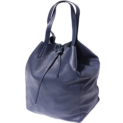 SHOPPING BAG CON LACCETTO IN PELLE 9121 (Blu scuro)