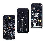 HopMore Negro Funda para Xiaomi Redmi Note 7 / Note 7 Pro Silicona Blando Antigolpes Dibujos Espacio Universo Space Creativo Gracioso TPU Carcasa Resistente Ultrafina Cover Protección - Design L