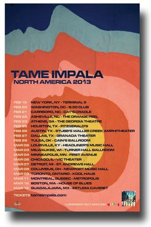 Concert Promoterffd Tame Impala Poster - 11 x 17 Promo für LONERISM Tour 2013 North America