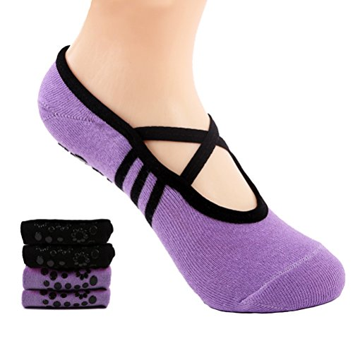 Supstar Calcetines Pilates Yoga Antideslizantes Traspirable Mujer para Barra Ballet Danza (2 Par)(Negro + Morado)