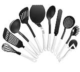 FACKELMANN Küchenhelfer-Set Arcadalina, Kochbesteck mit praktischem Griff, Kochzubehör für beschichtete Töpfe/Pfannen (Farbe: Weiß/Schwarz), Menge: 1 x 10er Set