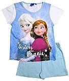Frozen - Die Eiskönigin Pyjama Kollektion 2016 Shortie 98 104 110 116 122 128 Mädchen Schlafanzug Shorty Anna und ELSA Disney Weiß-Blau (98-104, Weiß-Blau)
