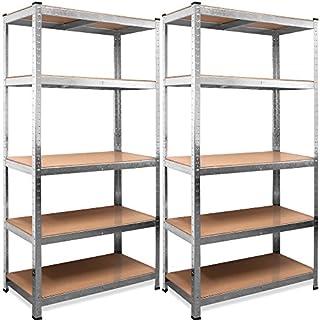 Deuba® 2x Schwerlastregal 875kg 5 Lagen 180x90x40cm Regal Lagerregal Kellerregal Steckregal Werkstattregal Garage