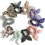 10PCS Lovely Dot Kaninchen Ohr Pferdeschwanz Halter Haar Schleife Haarband Haargummis Haar-Accessoires für Lady Mädchen und Frauen