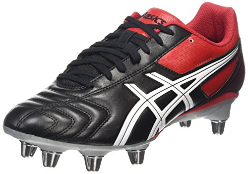 ASICS Lethal Tackle, Scarpe da Rugby Uomo, Nero (Black/Racing Red/White 9023), 42 1/2 EU