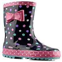 Storm Wells Infant Girls New Bow Trim Grip Sole Slip On Wellington Ankle Boots Shoes Size - Blue - UK 8 Infant