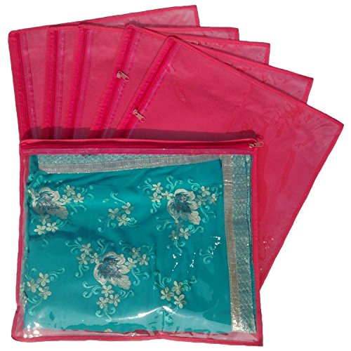 Kuber Industries Non Wooven Single Saree Cover 6 Pcs Set Red  available at amazon for Rs.169