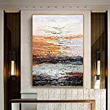 FENGJIAREN 100% Reines Handgemaltes Ölgemälde Wohnzimmer Esszimmer Veranda Modernen Minimalistischen Modernen Licht Luxus Abstrakten Amerikanischen Nordischen Große Dekorative Malerei, 50 × 70 cm