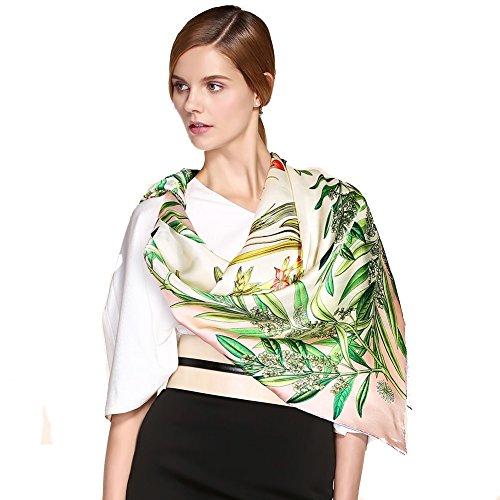 PASHNIYA Frauen schal Poncho Großen schiere schal wickelt für abend,Seide Damen Gedruckt Elegantes handtuch silk handtuch Geschenk Love-B 90x90cm(35x35inch) -