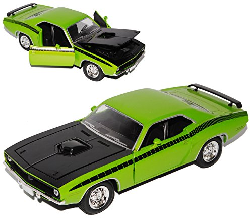 Barracuda-auto-modell (Plymouth Cuda Coupe Grün 1970 1/24 New Ray Modell Auto)