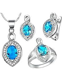 AnaZoz Joyería de Moda Simple Personalidad Chapado en Platino Juegos de Joyas Para Mujer (Collar Pendiente Anillo Juegos de Joyas) infinito Turquesa Azul Cristal