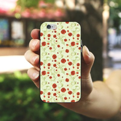 Apple iPhone 4 Housse Étui Silicone Coque Protection Roses Roses Roses Housse en silicone noir / blanc