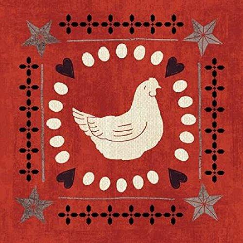 The Poster Corp Veronique Charron - Little Red Farm Tile III Kunstdruck (60,96 x 60,96 cm) -
