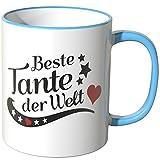 Wandkings® Tasse, Spruch: Beste Tante der Welt - BLAU
