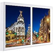 Ccretroiluminados Madrid Gran Via Ventanas Falsas Cuadros Decorativos Iluminada, Madera, Multicolor, 120x80x6.5 cm