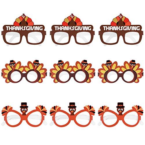 Amosfun Erntedankfest Türkei Brillen Türkei Cartoon Party Brille für Happy Thanksgiving Kostüm Brillen 9PCS (Machen Sie Eine Türkei Kostüm)