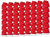 Set di 48 Cappelli da Babbo Natale con Pon Pon (wm-32) Rosso Bianco di Feltro per Adulti Uomo Donna di Alsino