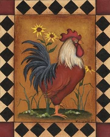 Red Rooster II by Lewis, Kim-stampa fine art disponibile su tela e carta, Tela, Red, SMALL (8 x 10 Inches ) - Folk Art Wall Hanging