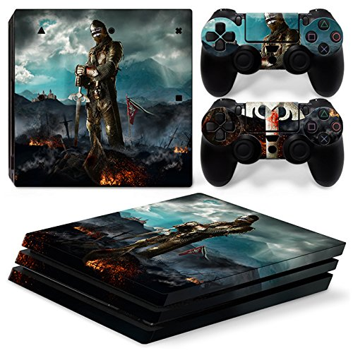 46 North Design Playstation 4 PS4 Pro Folie Skin Sticker Konsole Medieval Honor aus Vinyl-Folie Aufkleber Und 2 x Controller folie