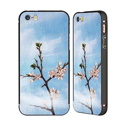 Ufficiale Paula Belle Flores Pioggia Rosa Primavera Nero Cover Contorno con Bumper in Alluminio per Apple iPhone 5 / 5s / SE Paradiso Di Primavera