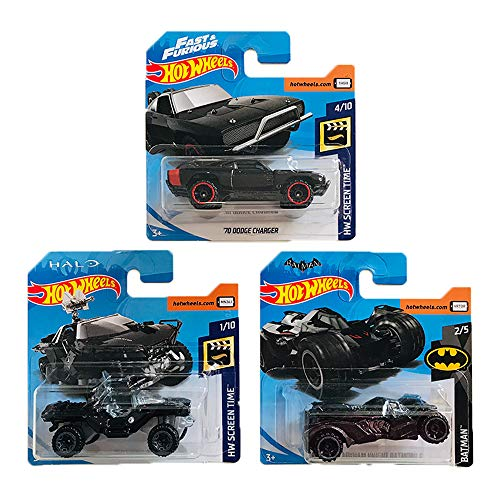 Hot Wheels '70 Dodge Charger & UNSC Warhog & Arkham Knight Batmobile HW Screen Time & Batman Pack 3