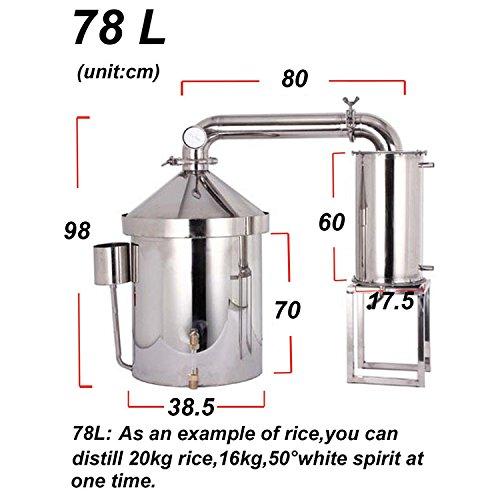 78L destilador de agua casero acero destiladores de aceites esenciales alambique de columna YUEWO