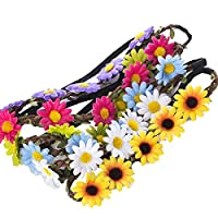 9 Pieces Flower Headband Garland - AWAYTR Bohemia Floral Crown for Women Girl Hair Accessories for Wedding Festival Party Multi Color 2